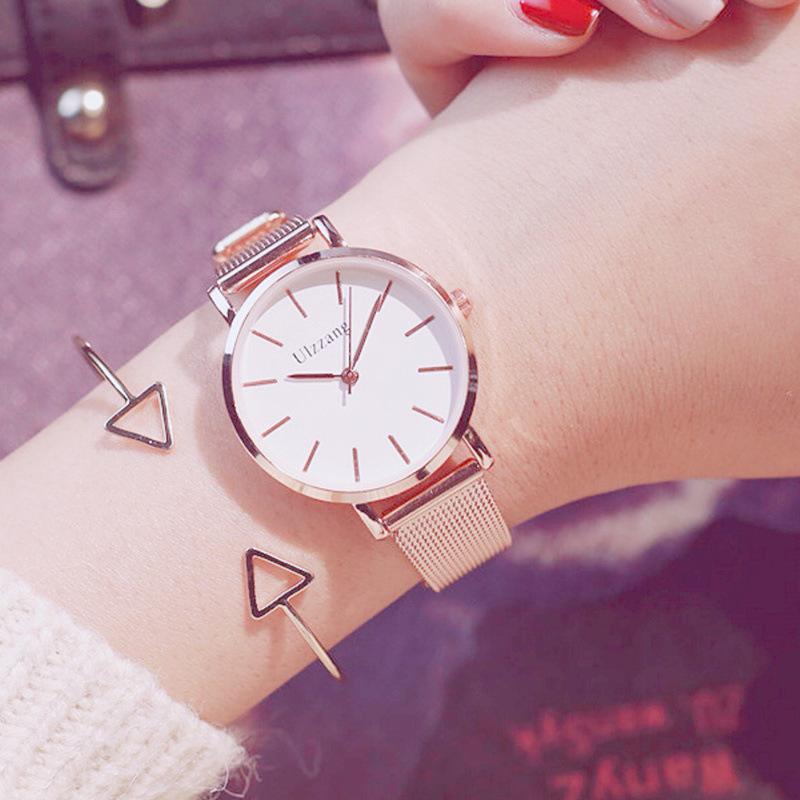 防水时尚款新款玫瑰金防水时尚款ulzzangins女士手表女学生韩版简约潮流