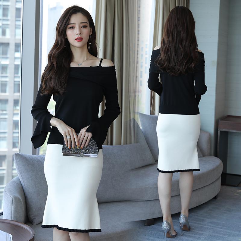 针织连衣裙套装2018秋季新款韩版时尚气质淑女露肩长袖包臀一步裙