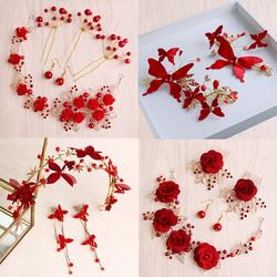 新娘头饰新款红色串珠头饰结婚饰品中式婚礼头饰红色发饰礼服配饰