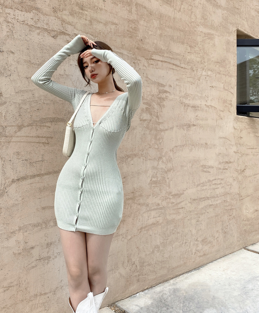 Real shot real price Slouchy casual elastic knitted cardigan Mini Dress