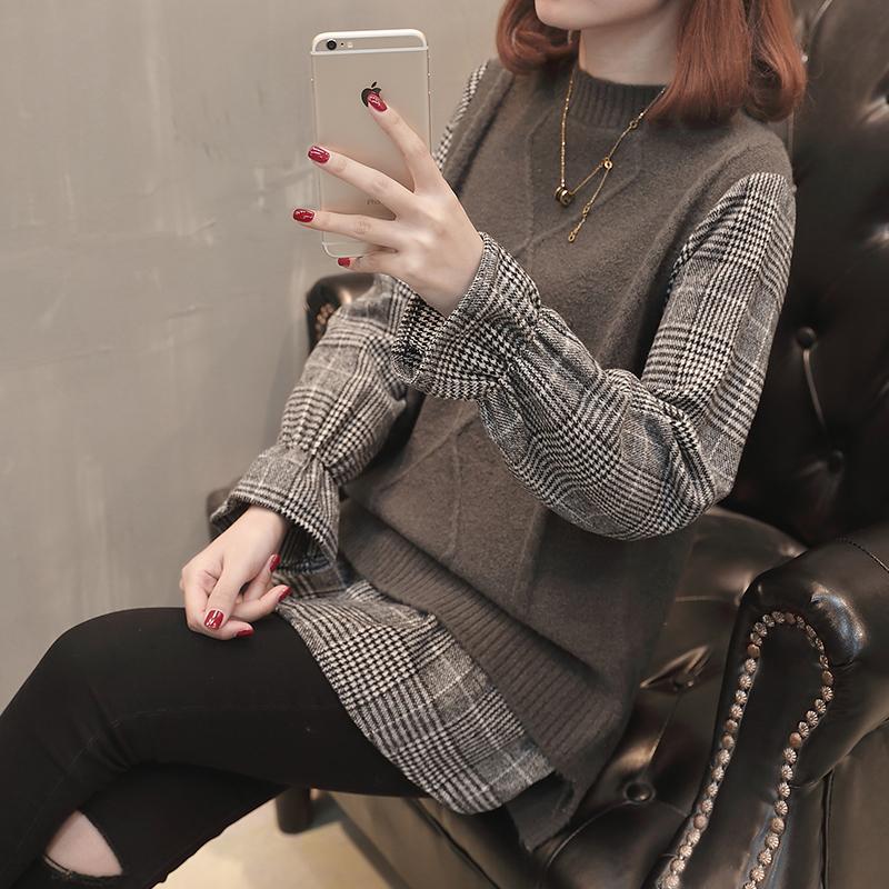 针织马甲女背心拼接毛衣秋装新品2019宽松套头格子衬衫假两件11