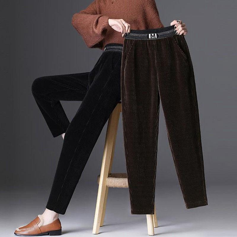 加绒灯芯绒女裤秋冬季新款中年松紧高腰宽松显瘦长裤小直筒哈伦裤