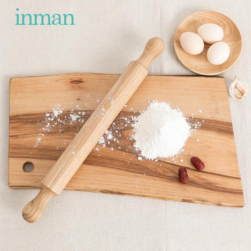 茵曼home 简约实用实木擀面杖山核桃木擀面棒厨房烘焙工具