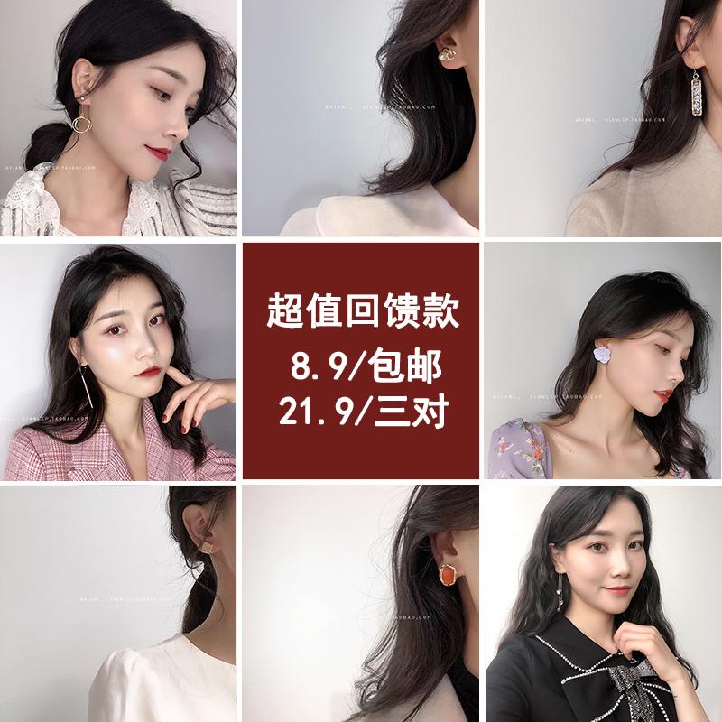 耳环2019新款潮夏天的耳钉网红时尚小花朵耳坠气质韩国个性耳饰女