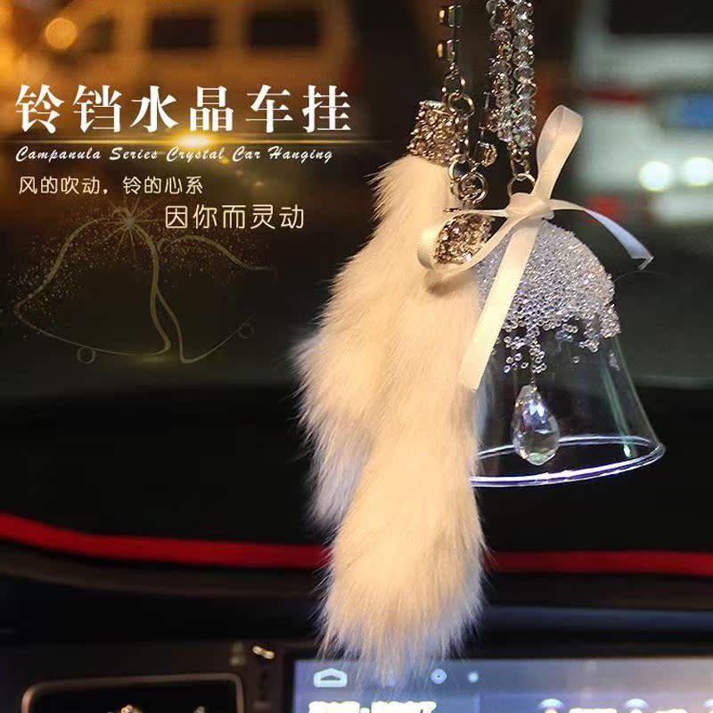 2016圣诞雪花汽车挂饰品 挂件 时尚水晶风铃铛玻璃创意日式和手工