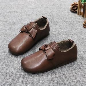 豆豆鞋女2019冬新款复古真皮内里加绒女鞋防滑平底舒适保暖大棉鞋