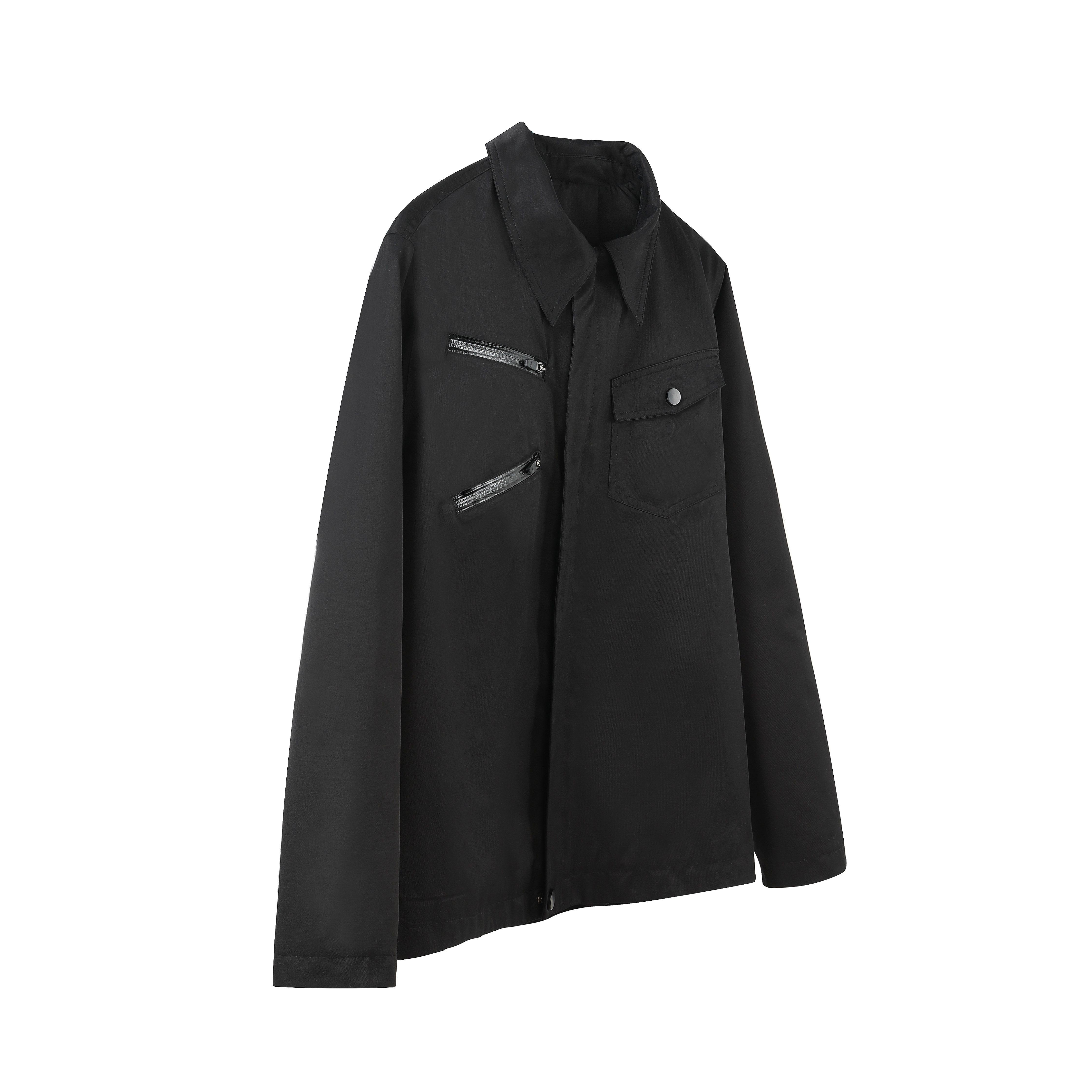 FNP SERVICE/Symmetrical working jacket黑色尖领拉链工装夹克