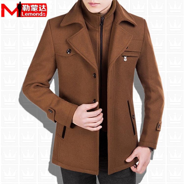 男士新款秋冬季羊毛呢子大衣韩版修身中长款商务休闲风衣男装外套