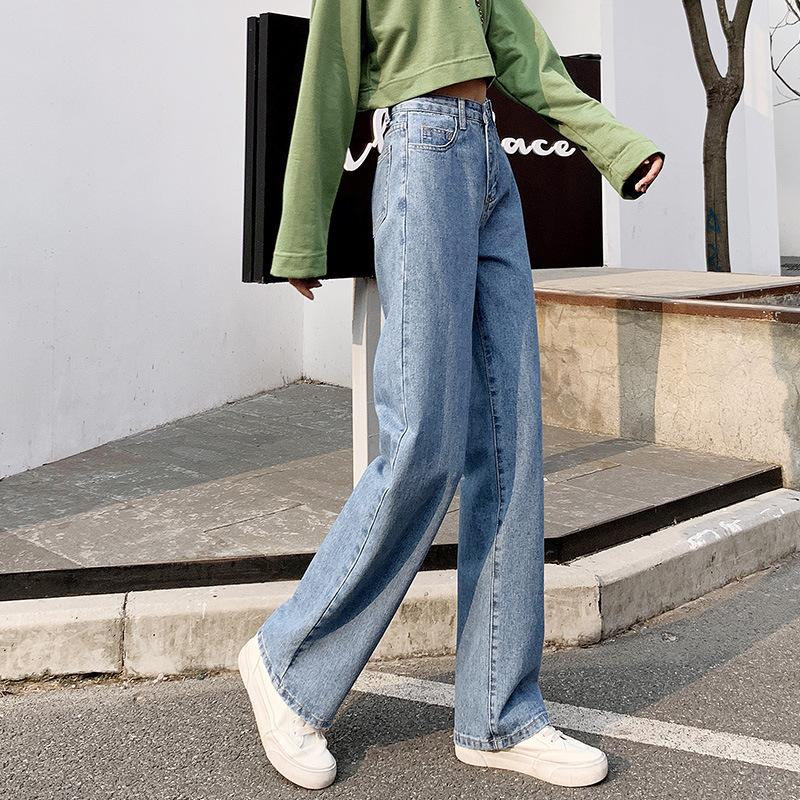 春季新款高腰阔腿裤可调节腰牛仔裤