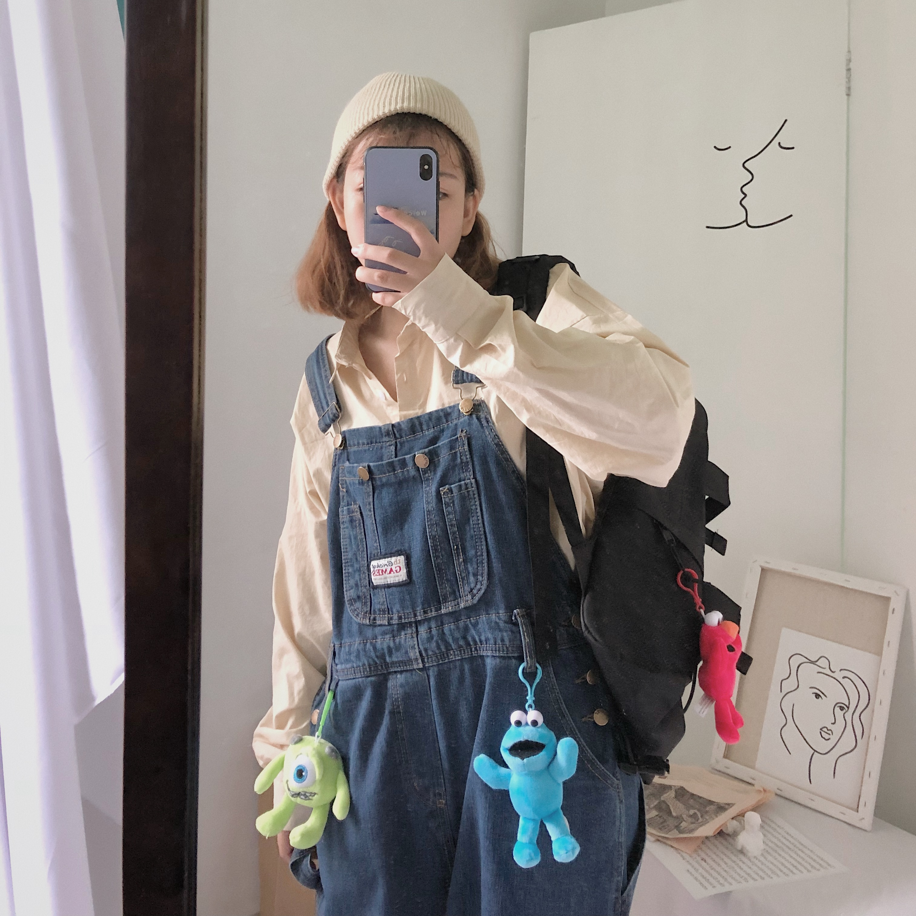 (用1元券)新品韩版秋冬季学院风做旧连体裤