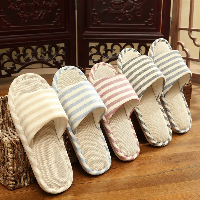 Summer home four seasons male and female couples cotton linen slippers home indoor wooden floor soft bottom anti-skid cloth