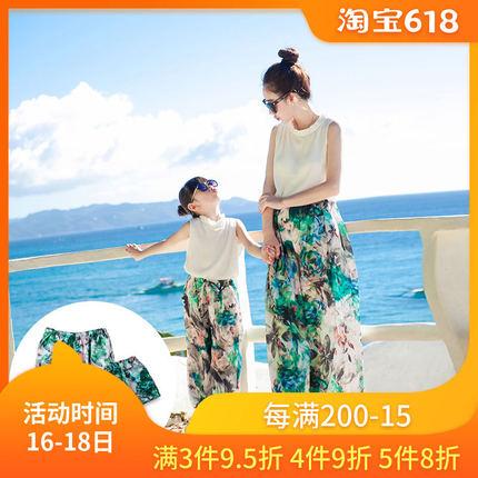 夏装2019新款潮母女装海边度假女童