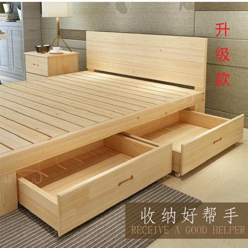 Бесплатная доставка дерево односпальная кровать 1 метр 1.2m сосна двуспальная кровать 1.5M королева 1.8 метр легко деревянные кровати можно настроить кровать