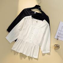大码女装轻熟法式小众洋气长袖衬衫 200斤胖妹妹时尚方领衬衣上衣