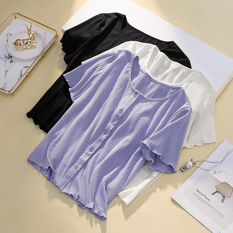 大码女装显瘦时尚短款针织开衫上衣200斤胖妹妹mm百搭洋气短袖T恤