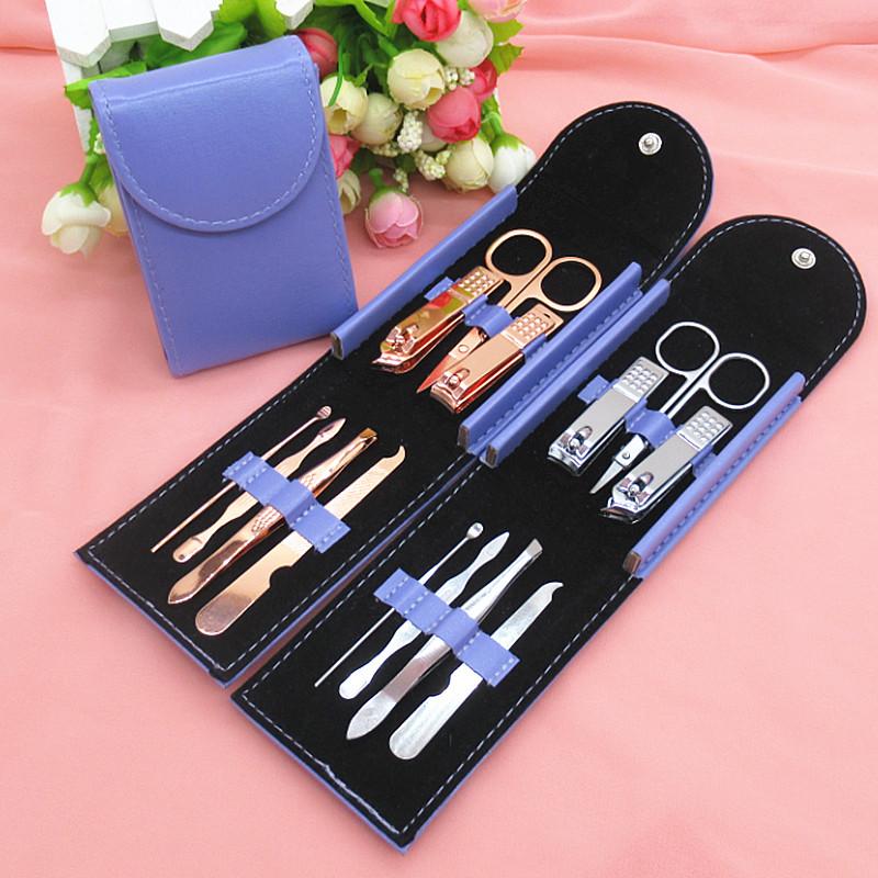 现货不锈钢指甲钳套装7件套定制logo  修甲美甲修脚刀美容剪工具