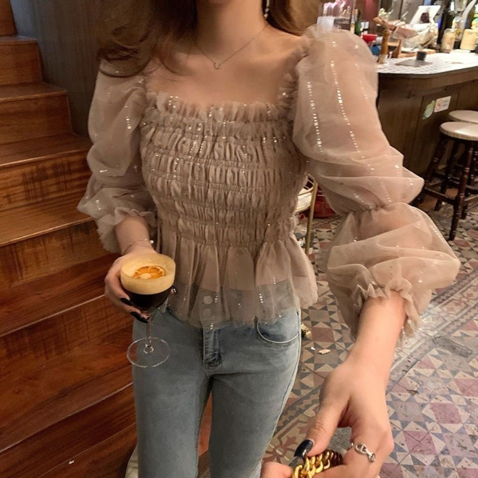 Square Collar Chiffon shirt womens design niche 2021 early spring new sparkling pleated waist short long sleeve top