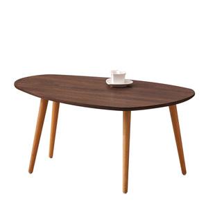 北歐實木茶几簡約 客廳小户型現代簡易創意橢圓形雙層小茶几組合