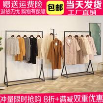 衣服货架展示架墙壁式组合衣架店里铁艺衣服复古挂墙挂衣架装饰台