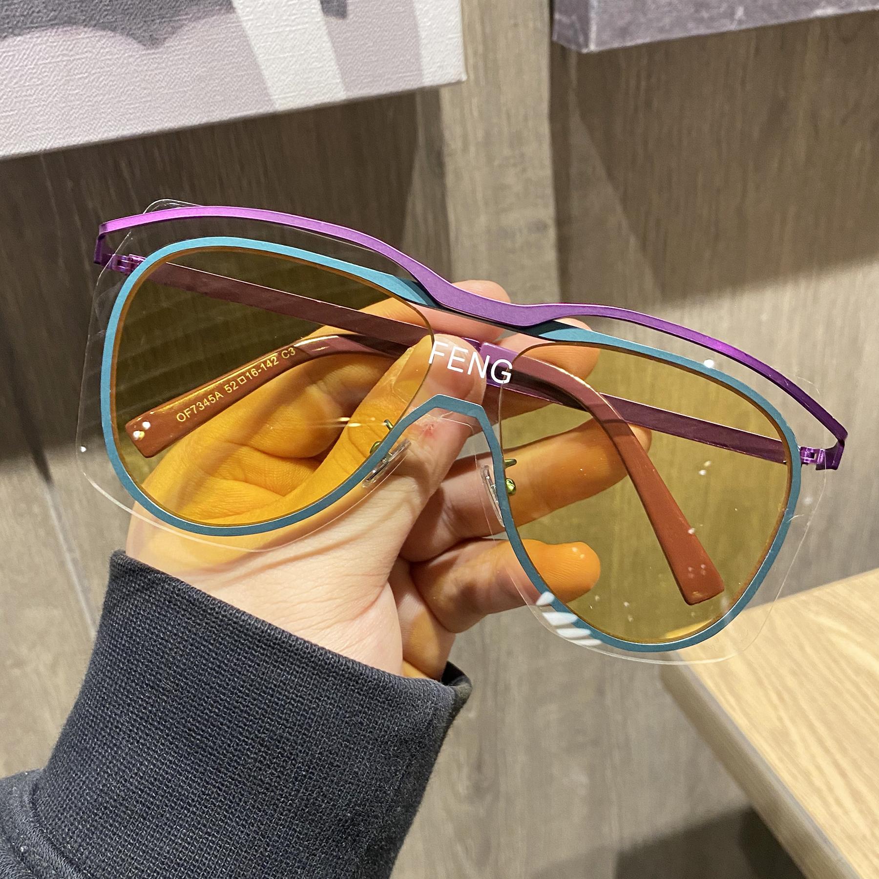 韩版潮个性超大框网红防风连体墨镜女大脸圆脸显瘦太阳镜男潮眼镜