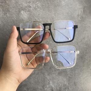 四方超大框眼镜框女圆脸显瘦遮脸黑色下半框平光镜可配近视眼镜男