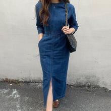 韩国chic气质复古圆领显瘦水洗蓝修身显瘦中长款开叉牛仔连衣裙女