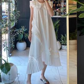 韩国chic气质设计感压褶拼接圆领宽松纯色飞飞袖不规则连衣裙长裙