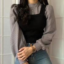 韩国ins减龄百搭半高领灯笼袖格子衬衫+修身针织背心小吊带套装女