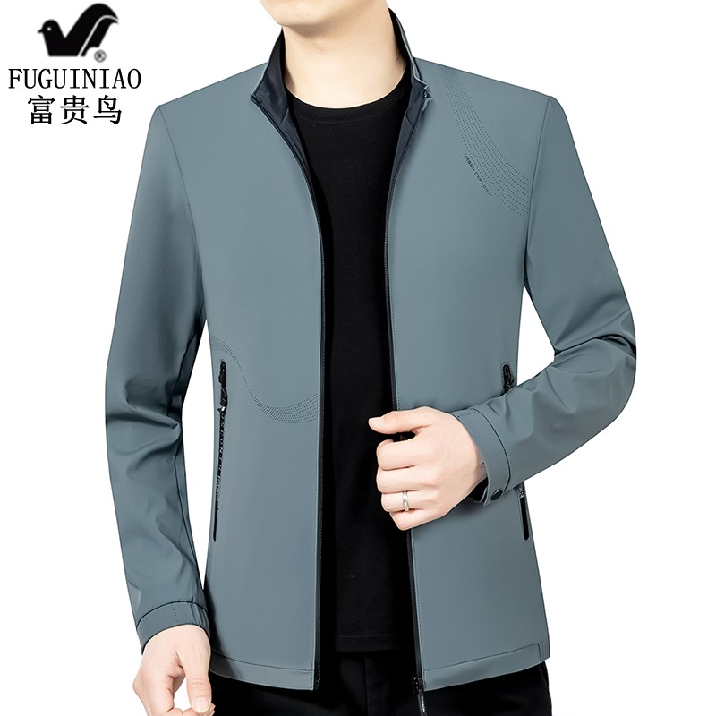 Fuguiniao mens 2021 spring new middle-aged leisure thin top hooded detachable jacket mens coat