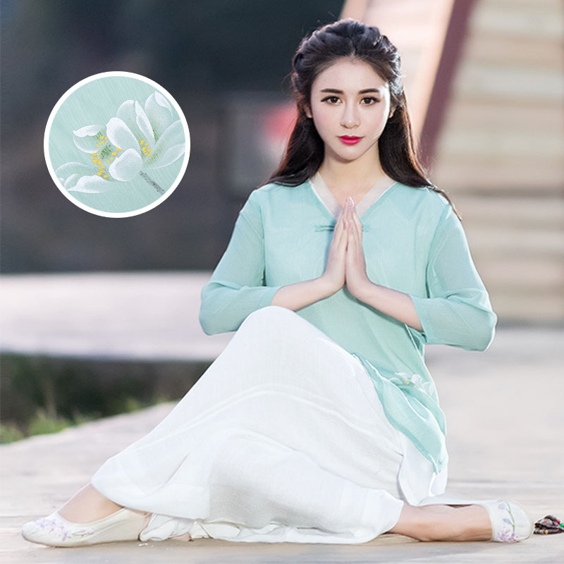 Chinese style chiffon lay clothes female autumn new retro improved Tang suit Zen Buddhist system repair