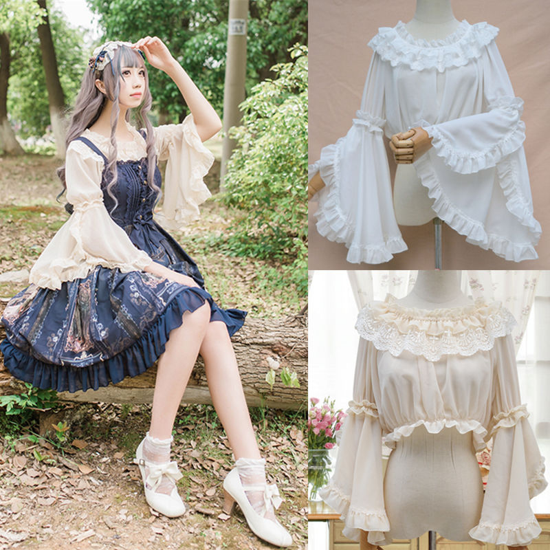 Lolita Kee Sleeve Chiffon Top everyday dress with lace lace lace ruffle sleeve Lolita summer versatile womens top
