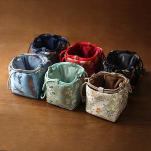 春泥织锦缎加厚丝绸收纳旅行包茶叶罐茶杯茶具茶壶中号布包六色