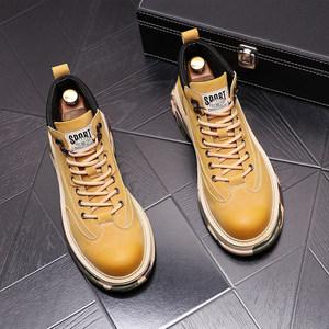 迷彩高帮鞋男真皮反绒休闲短靴韩版潮流拼色内增高加绒保暖马丁靴