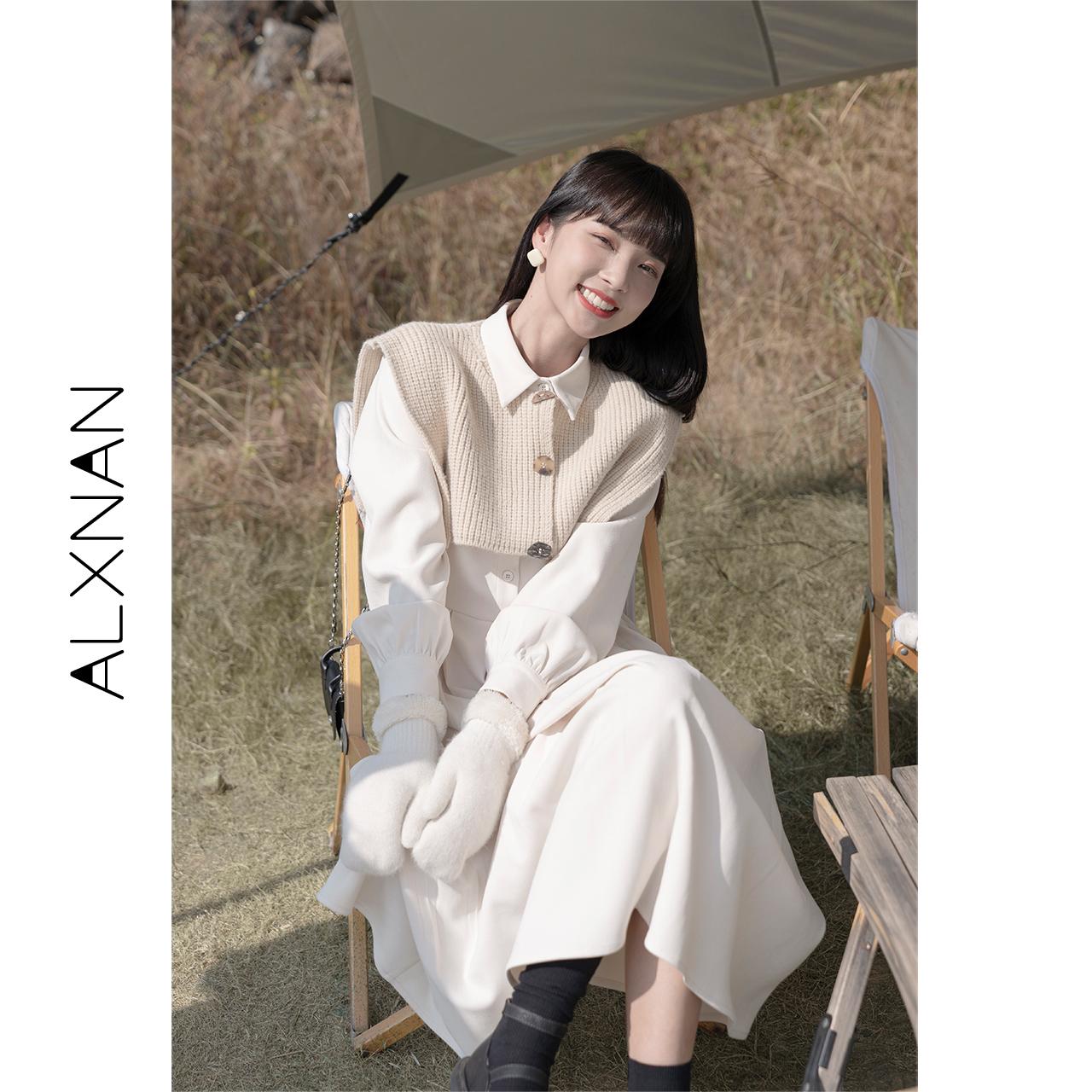 Deer Xiangnan Short apricot sweater with skirt Western style two-piece temperament doll collar skirt female winter dress