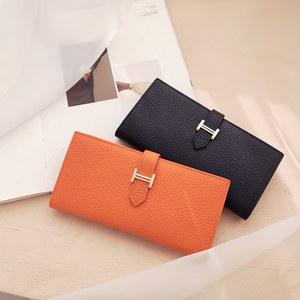 真皮H钱包女长款时尚新款简约复古大容量多功能折叠式皮夹手拿包