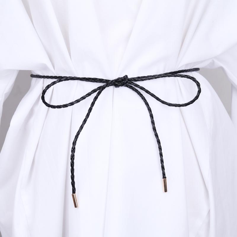 Simple knitting small leather rope knotting Korean 100 matching dress shirt womens thin belt decorative waist rope