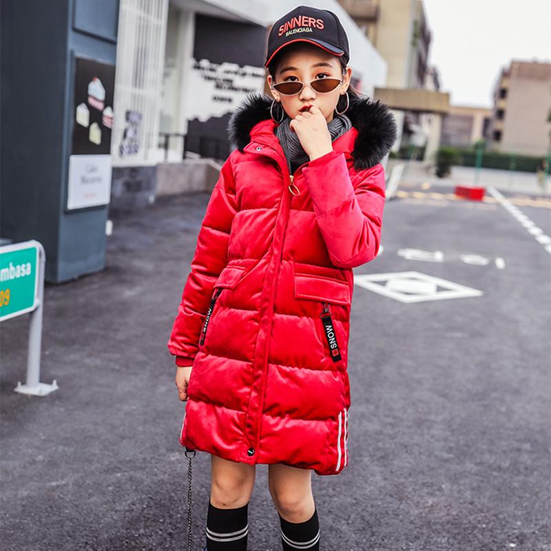 儿童装男童棉衣新款冬装金丝绒外套中大童男女孩棉服中长款棉袄图片