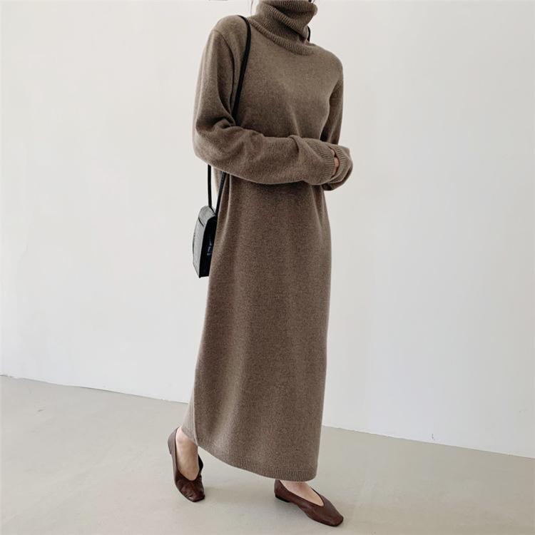 超長打底裙秋冬時尚長袖顯瘦連衣裙女高端氣質輕奢女裝秋裝裙子