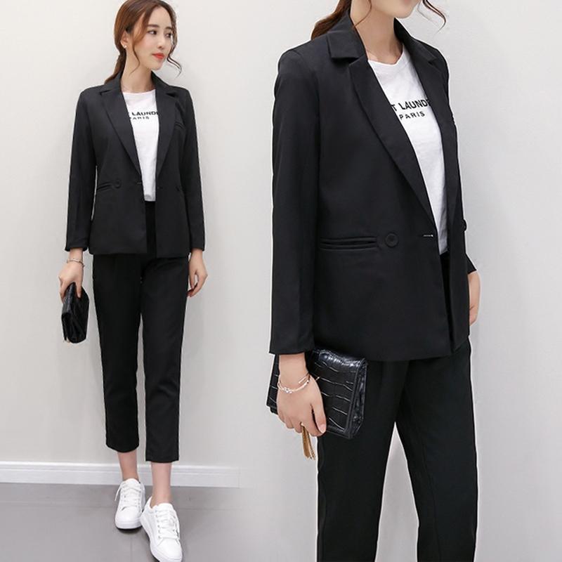 South Koreas new 2021 spring fashion womens suit casual Blazer Jacket Capris suit two piece fashion