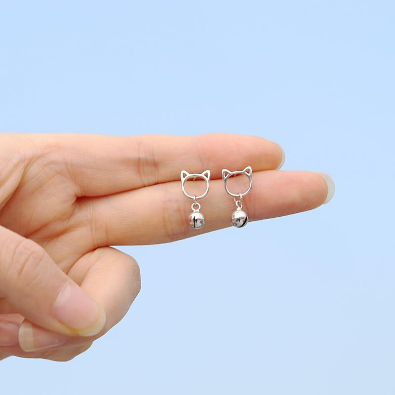 限8000张券s925纯银猫咪可爱铃铛小众简约耳钉
