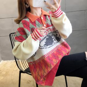 2900#实拍好质量韩版2019秋新款POLO领套头撞色毛衣针织衫女