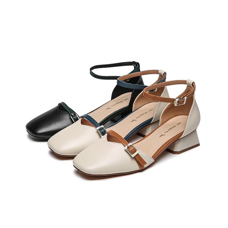 红蜻蜓2021春夏季新款粗跟一字带凉鞋女包头仙女风真皮百搭单鞋女
