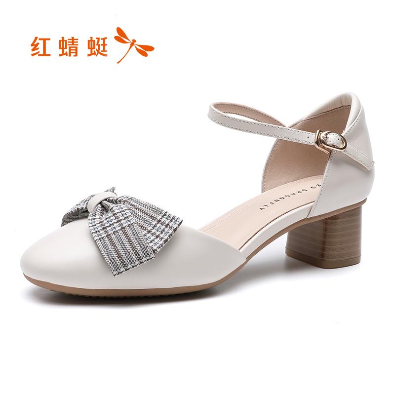 红蜻蜓女鞋2019新款 春季单鞋女 中跟蝴蝶结玛丽珍鞋女粗跟单鞋女