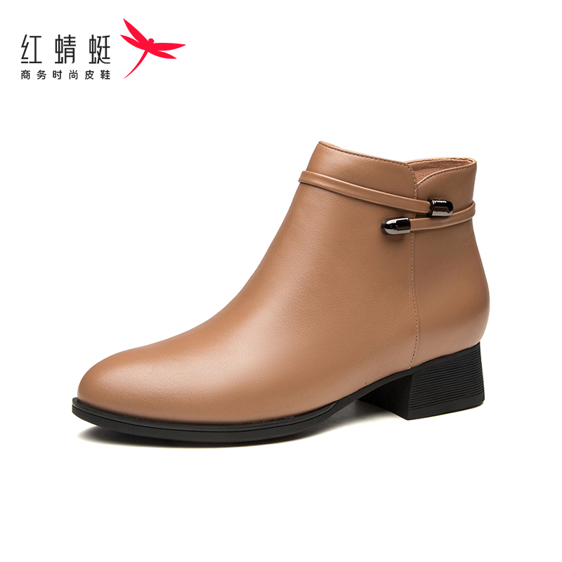 Red Dragonfly women's boots winter new short boots with plush round head thick heel fashion boots cotton boots women's middle heel leather boots
