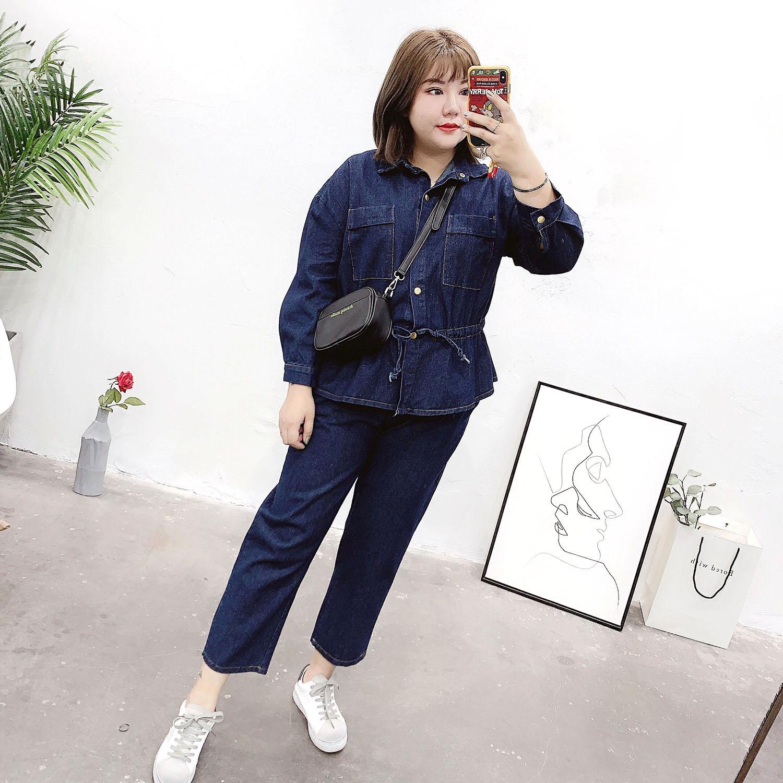 大码女装胖妹妹显瘦2019新款秋季韩版洋气减龄牛仔裤外套两件套装