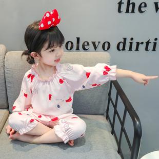 女童2020夏季新款家居服中小童女寶寶可愛甜美薄款花邊睡衣兩件套