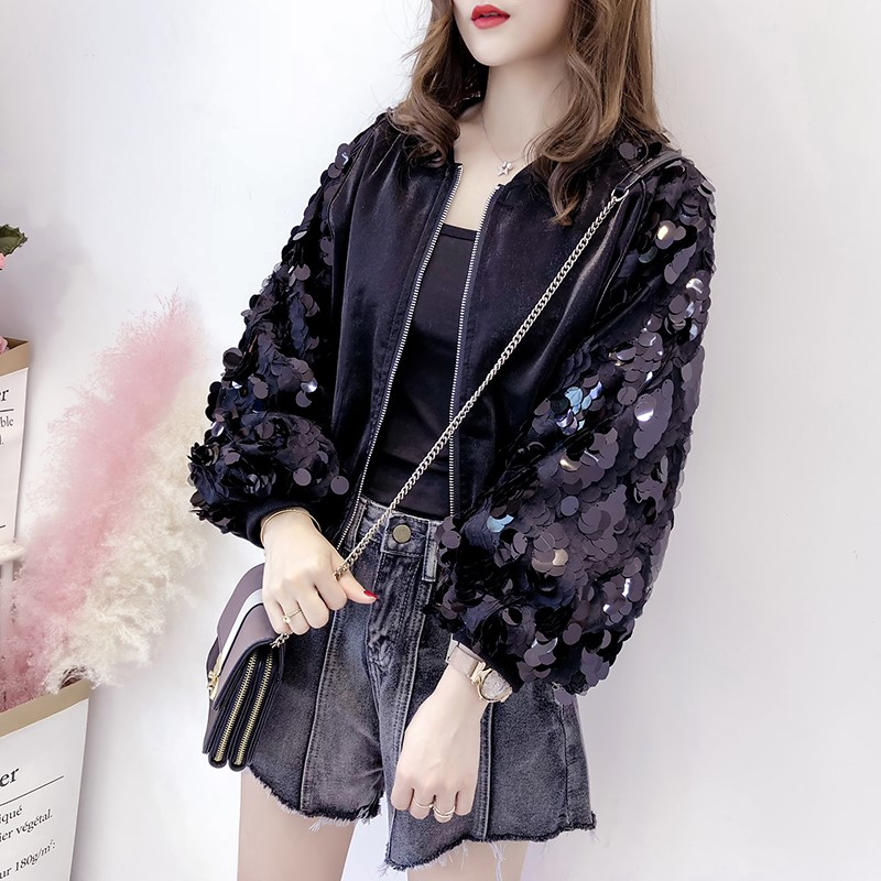 Sequin coat womens 2021 new European and American spring and autumn Korean loose Autumn Lantern Sleeve versatile short jacket