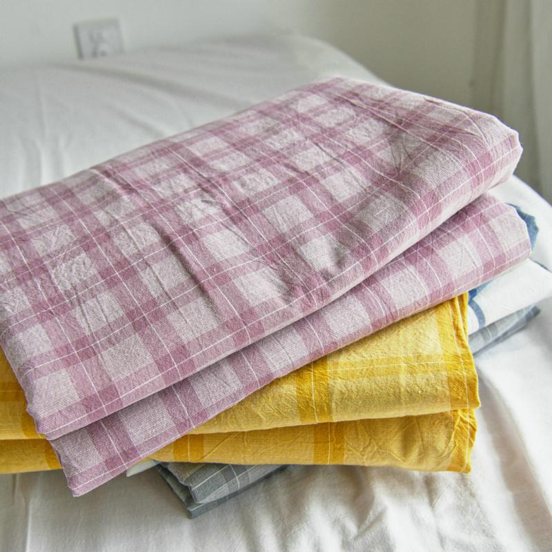 水洗棉床单单件纯棉 学生宿舍单人床纯色格子全棉被单被罩三件套