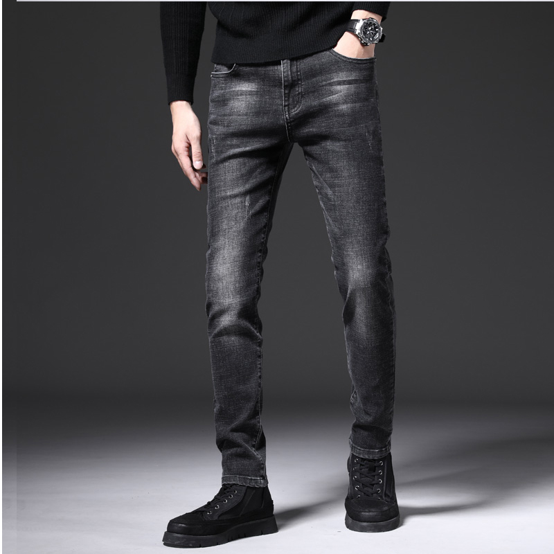 Comfortable mens wear mens mens ruffian handsome Ku Jie jeans middle aged uncle high grade cotton small straight casual pants
