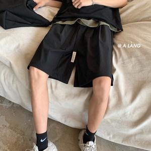 ROCKY家 自制短裤男韩国显瘦黑色西装裤夏季潮流五分裤百搭休闲裤